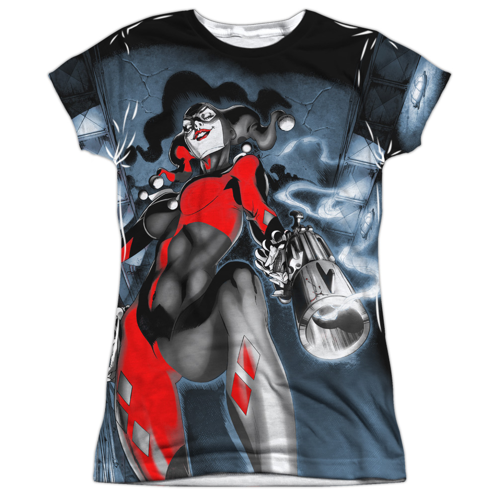 6174bb5cd Harley Quinn Nice Shot DC Comics All Over Sublimation Junior T Shirt ...