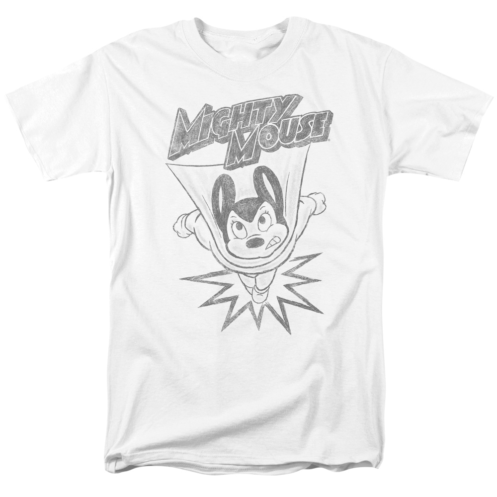 Mighty Mouse Bursting Out Pencil Sketch T-Shirt