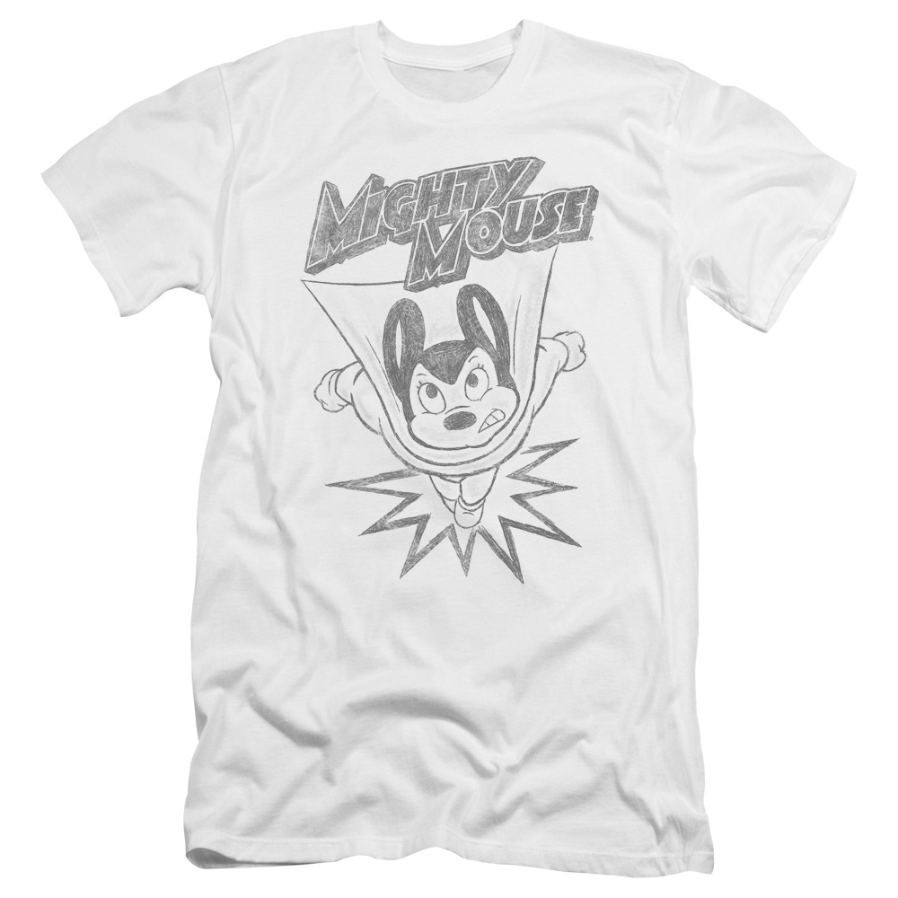 Mighty Mouse Bursting Out Pencil Sketch Premium Slim Fit T-Shirt