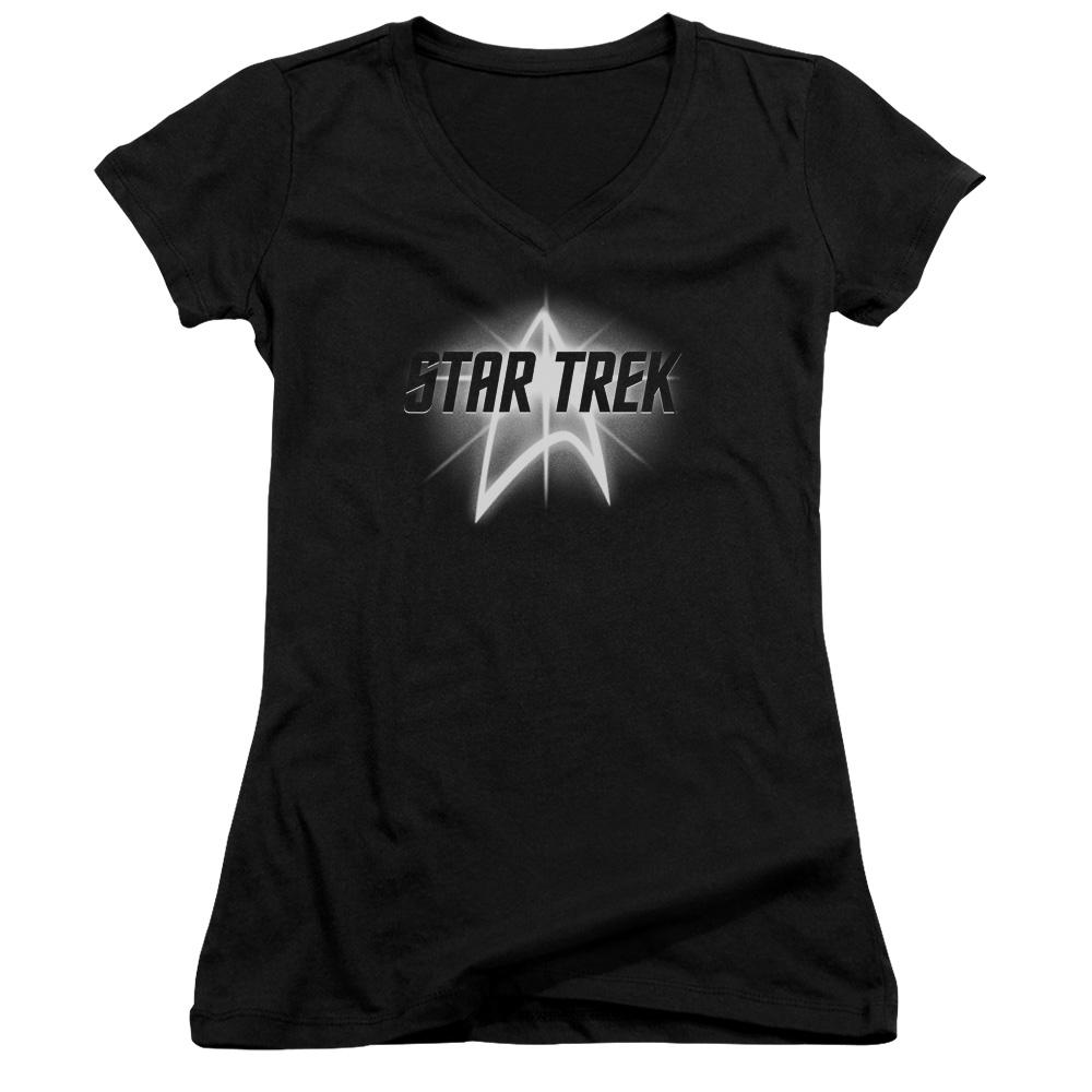 Star Trek Glowing Up Emblem Juniors V-Neck T-Shirt