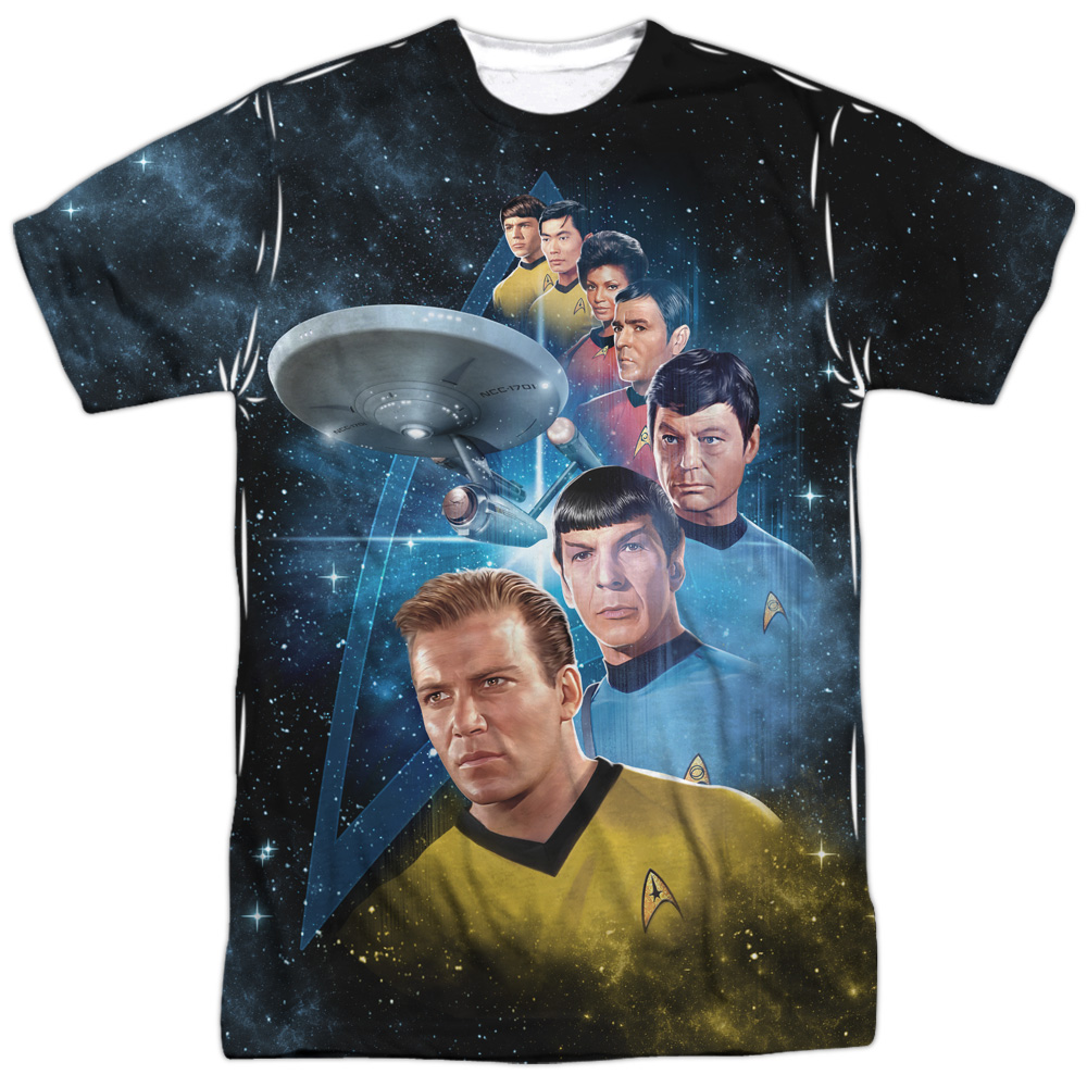 Star Trek Captains Allover Sublimation Licensed Adult T Shirt