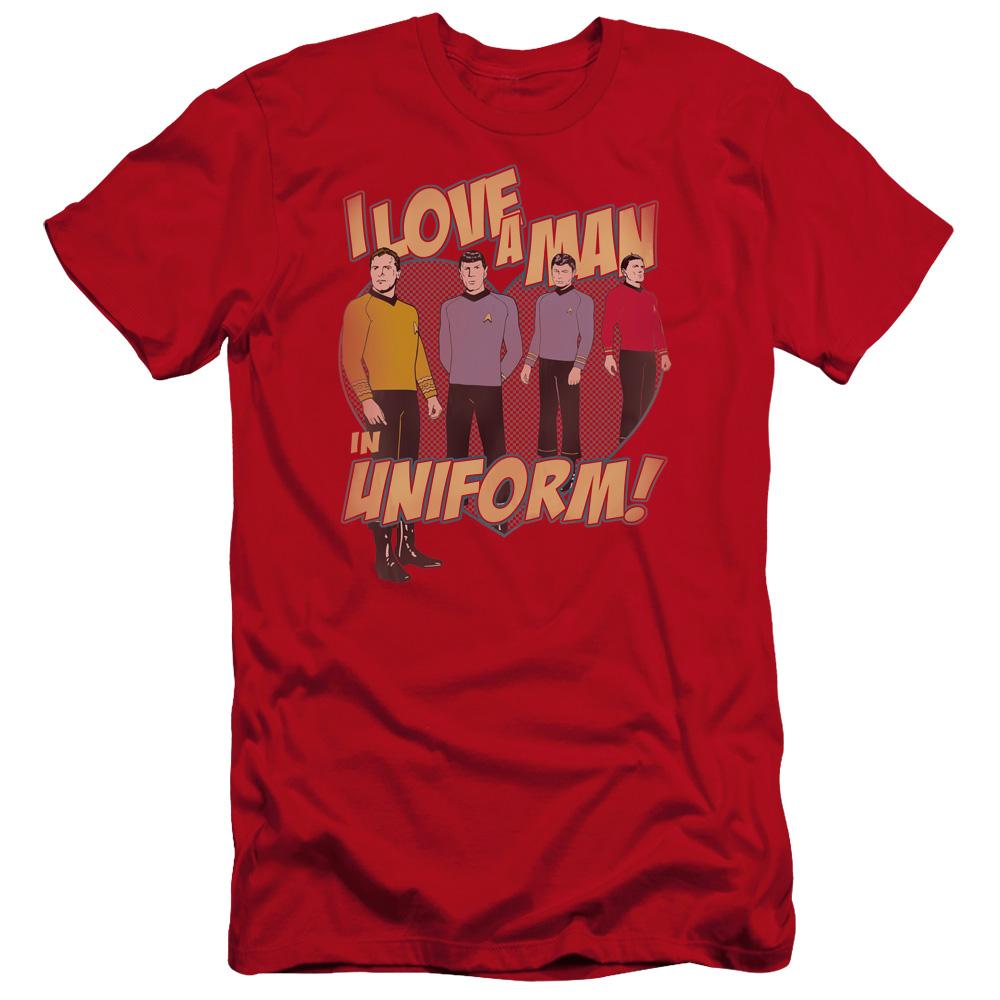 Star Trek Man In Uniform Premium Slim Fit T-Shirt