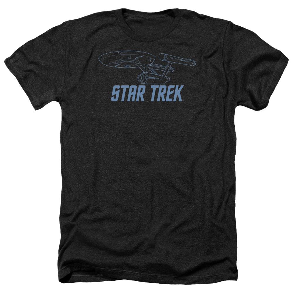 Star Trek Enterprise Outline Heather T-Shirt