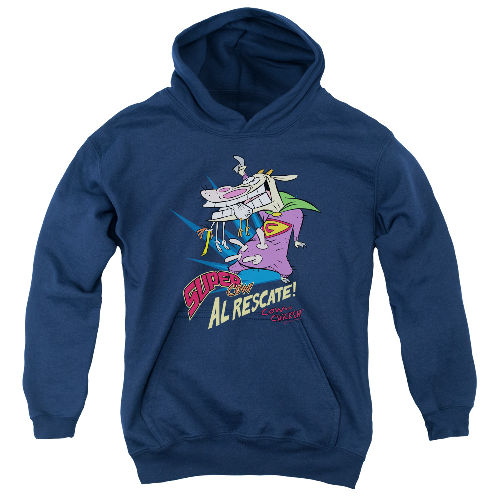 Cow and Chicken Super Cow Graphic Kids Hoodie