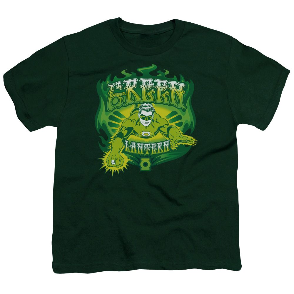 Green Lantern Green Flames Kids T-Shirt