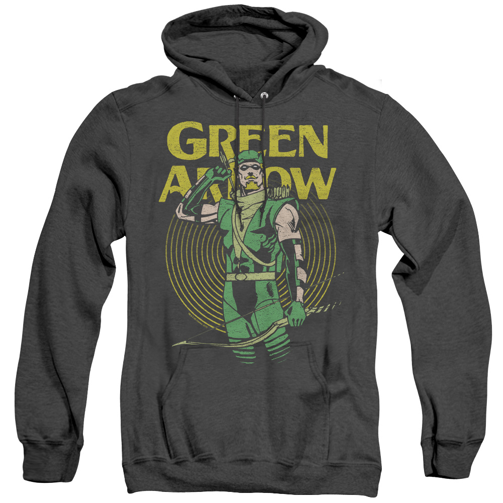 Green Arrow Pull Retro Adult Heather Hoodie