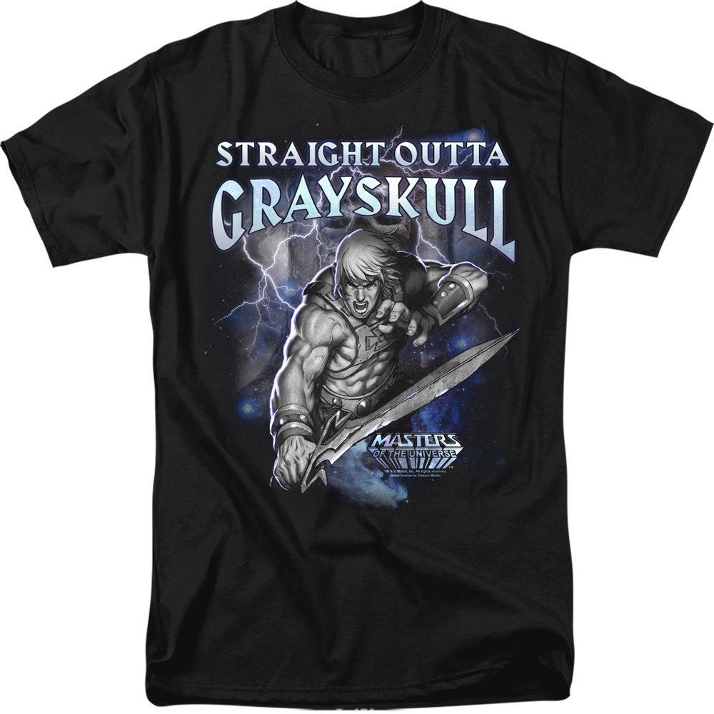 Masters Of The Universe He-Man Grayskull Sublimation Licensed Adult T Shirt
