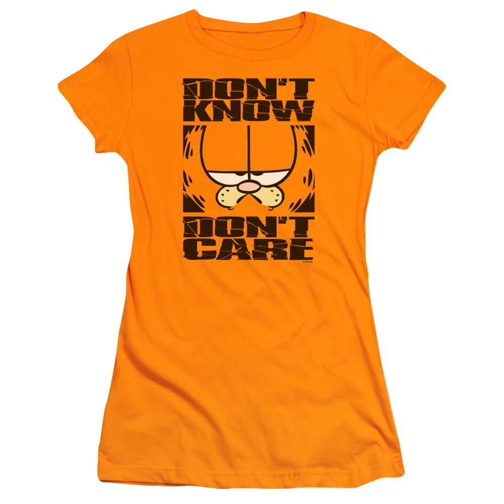 Garfield Dont Know Dont Care Junior Fit T Shirt
