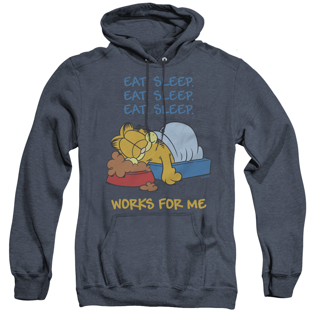 Garfield Works For Me Adult Heather Hoodie