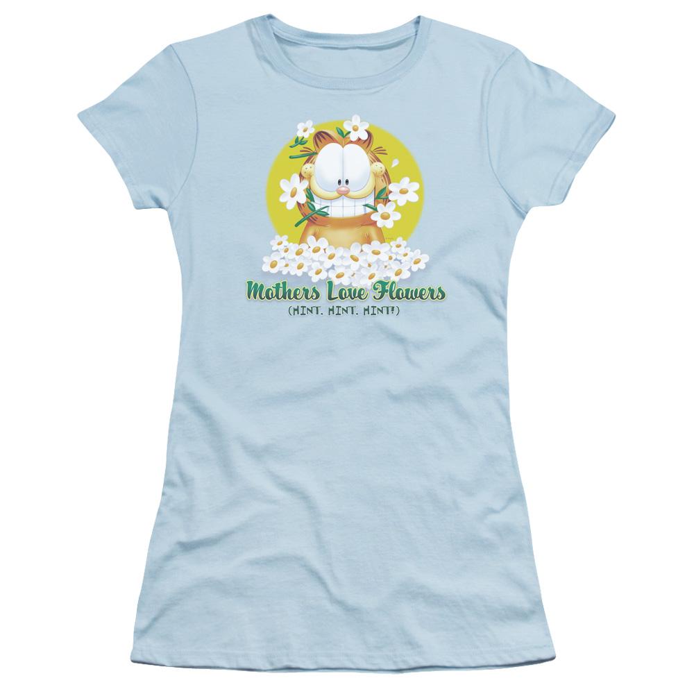 Garfield Mothers Love Flowers Junior Fit T Shirt