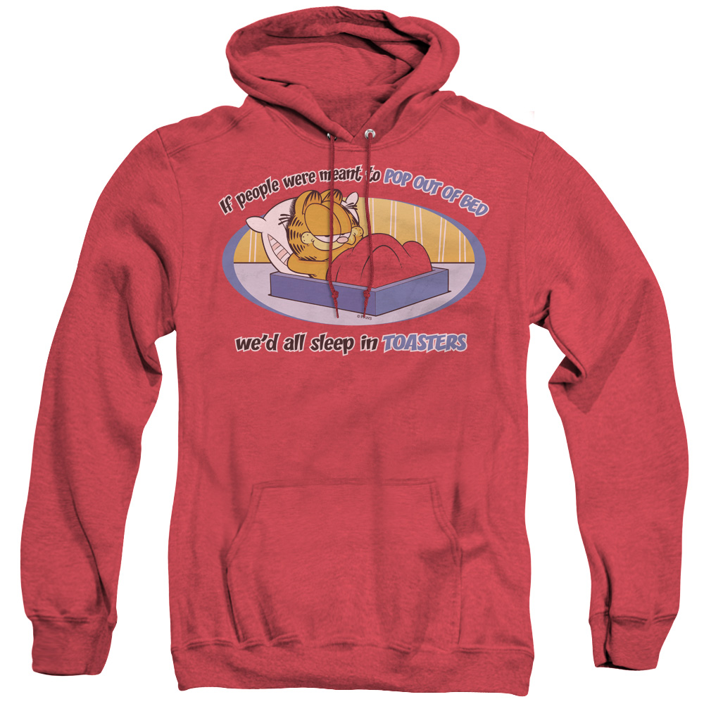 Garfield Pop Out Of Bed Adult Heather Hoodie
