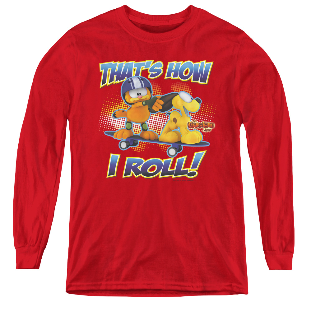 Garfield How I Roll Kids Long Sleeve Shirt