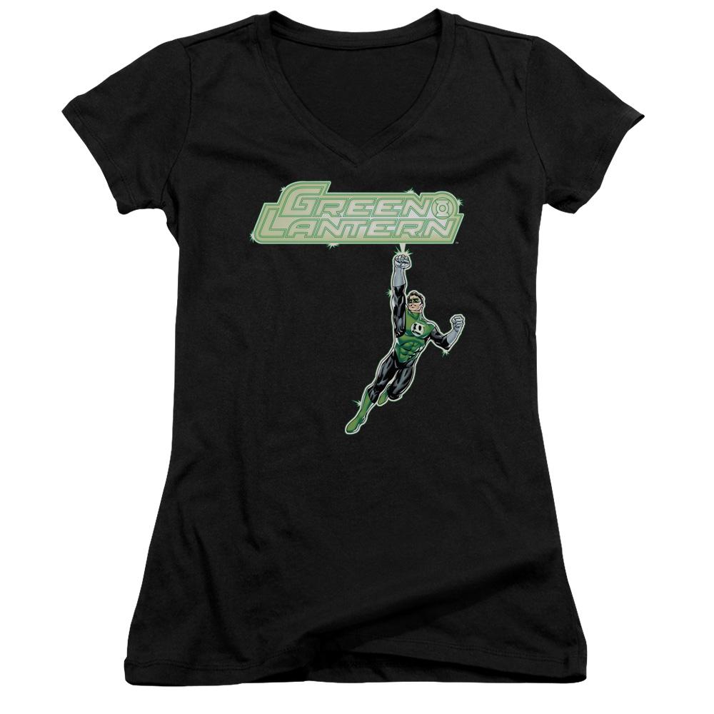 Green Lantern Energy Construct Logo Juniors V-Neck T-Shirt