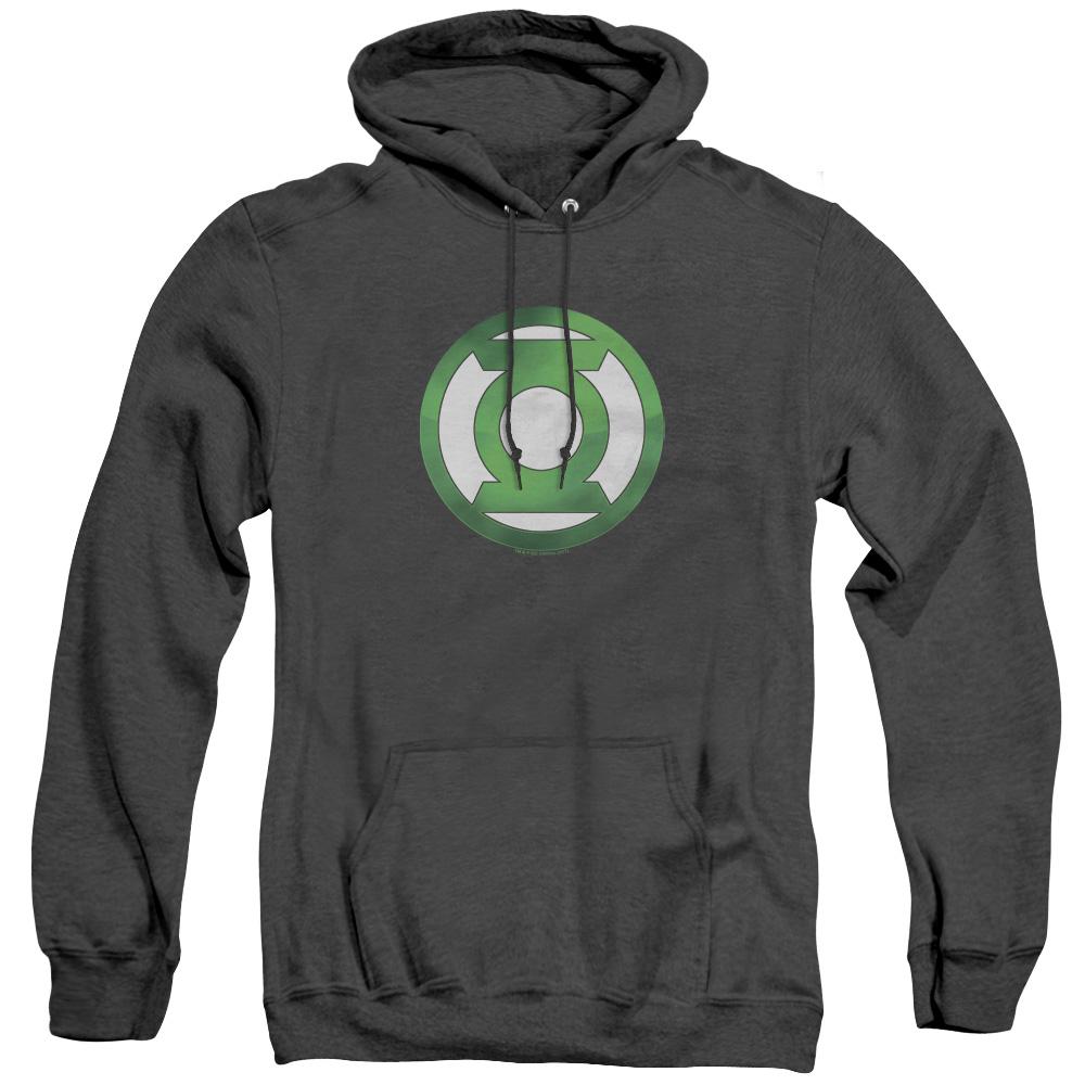 Green Lantern Green Chrome Logo Adult Heather Hoodie