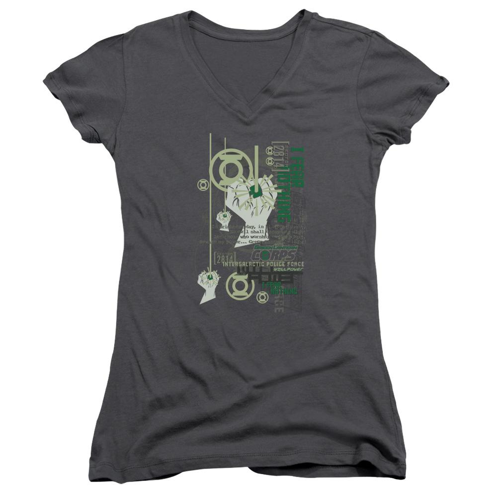 Green Lantern Core Strength Juniors V-Neck T-Shirt