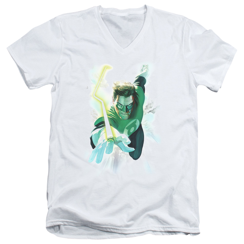 Green Lantern Clouds V-Neck T-Shirt