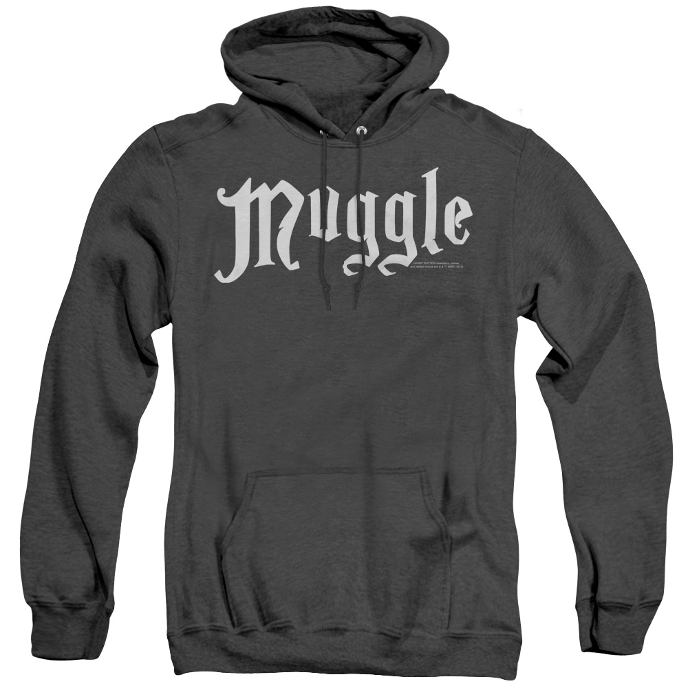 Harry Potter Muggle White Logo Adult Heather Hoodie