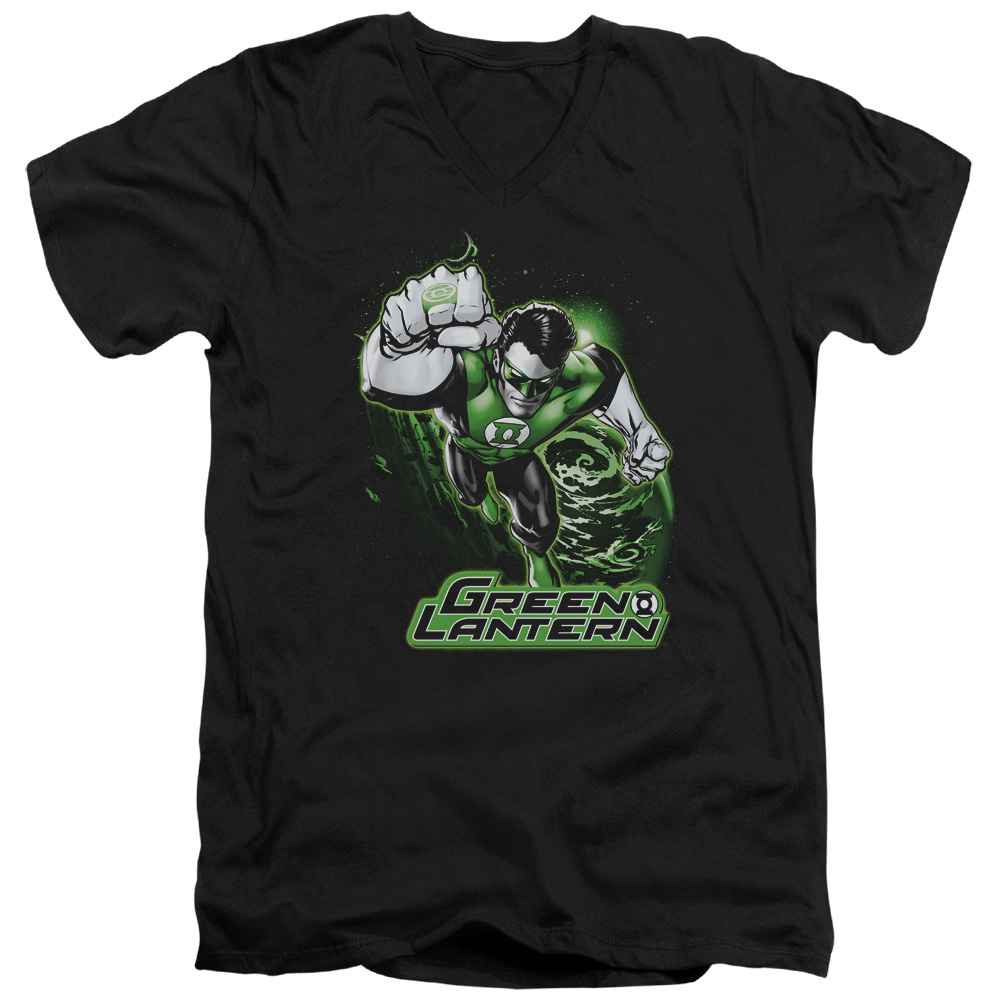 Green Lantern Green & Gray V-Neck T-Shirt