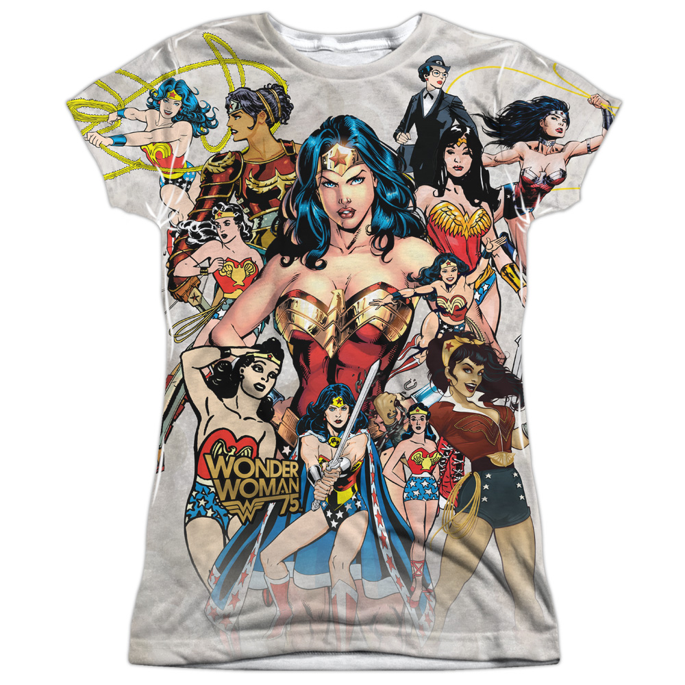 Wonder Woman Collage DC Comics All Over Print Sublimation Junior T Shirt