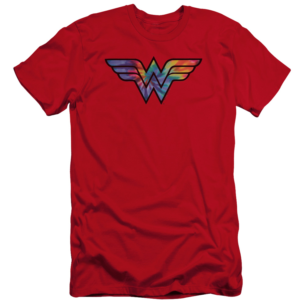 Wonder Woman Tie Dye Logo Premium Slim Fit T-Shirt