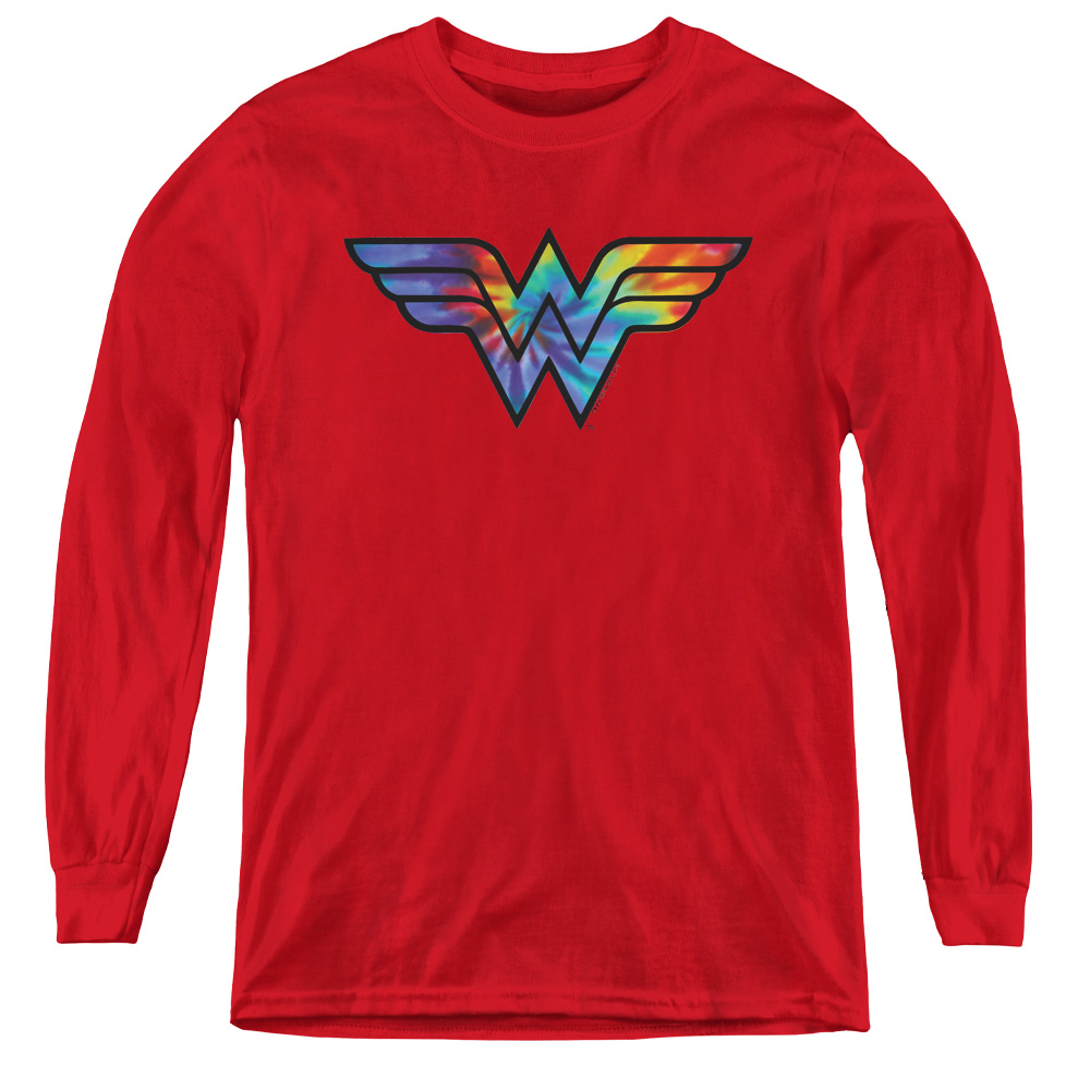 Wonder Woman Tie Dye Logo Kids Long Sleeve Shirt