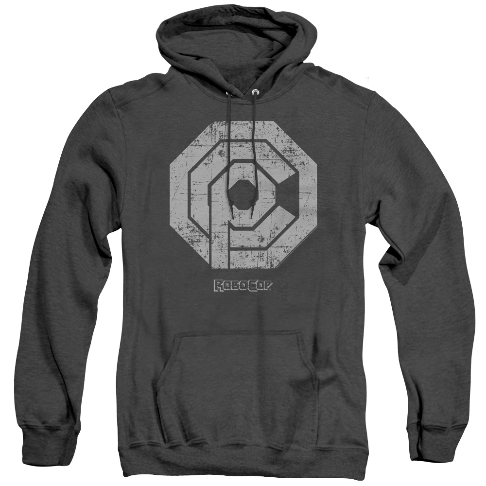 Distressed Logo Robocop Adult Heather Hoodie