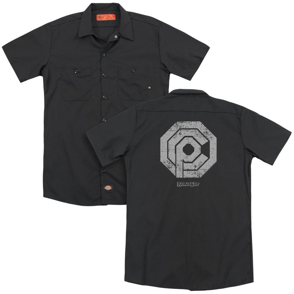 Distressed Logo Robocop Work Button Up Shirt