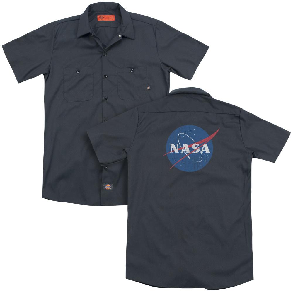 NASA Meatball Logo Distressed Work Button Up Shirt