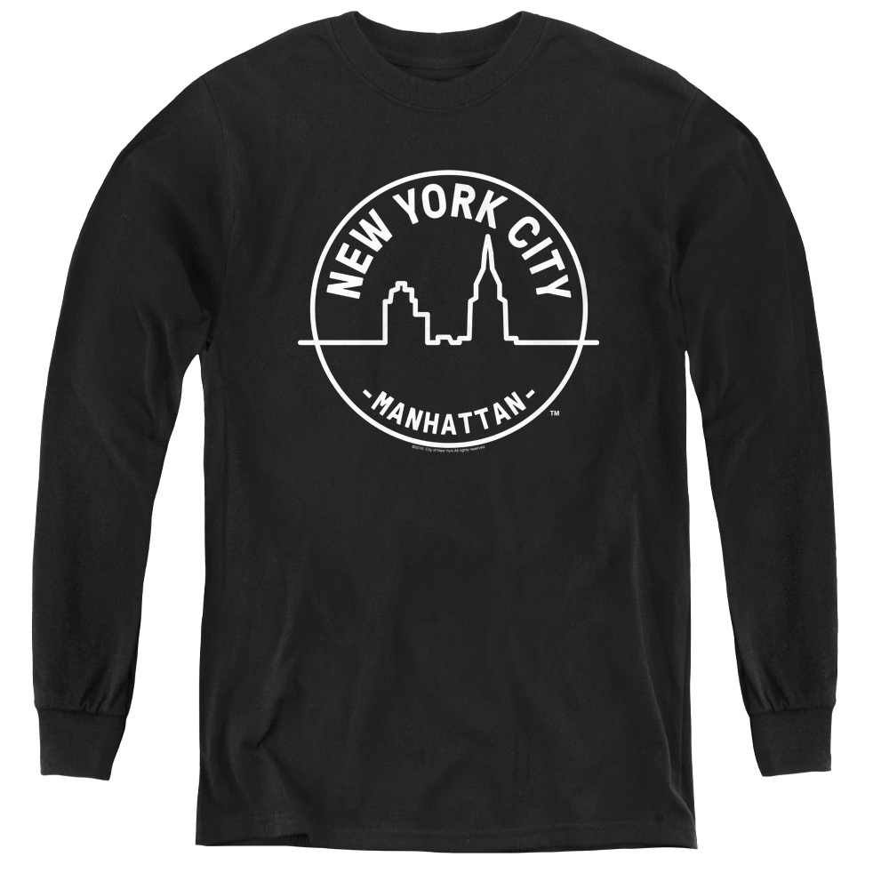 Manhattan NYC New York Kids Long Sleeve Shirt