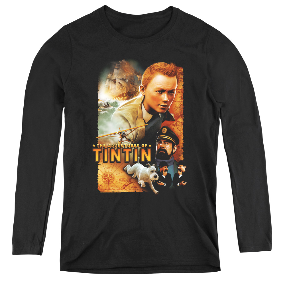 Adventure Poster The Adventures Of Tintin Women's Long Sleeve Shirt