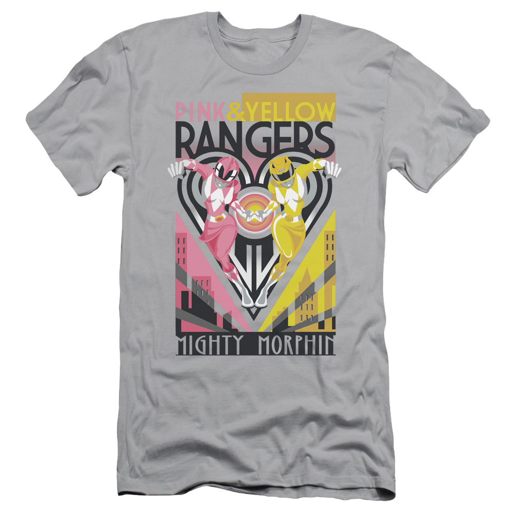 Power Rangers Pink & Yellow Deco Slim Fit T-Shirt