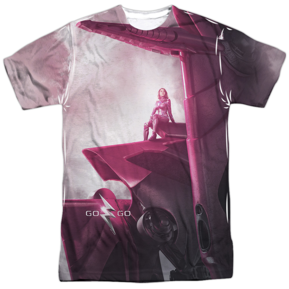 Power Rangers Pink Zord Poster Sublimation Licensed Adult T-Shirt