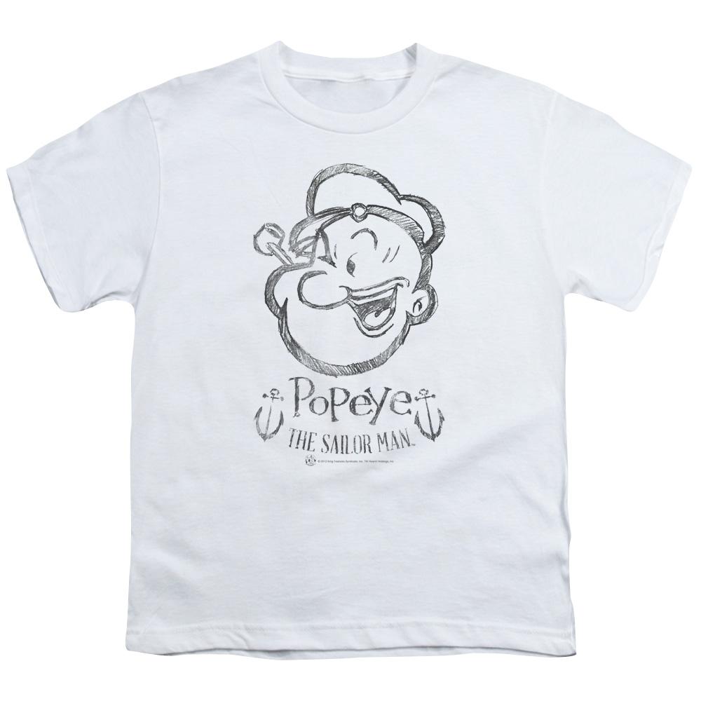 Popeye Sketch Portrait Kids T-Shirt