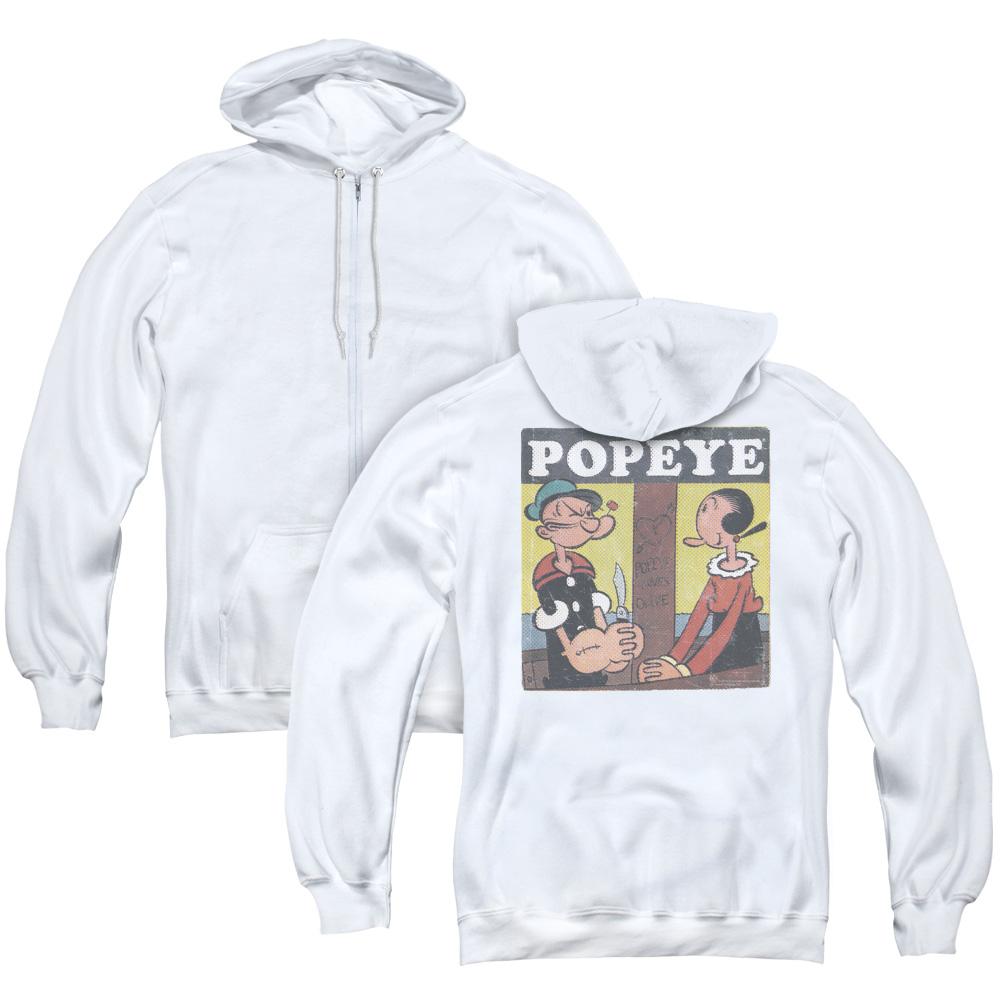 Popeye Loves Olive Adult Zip Hoodie