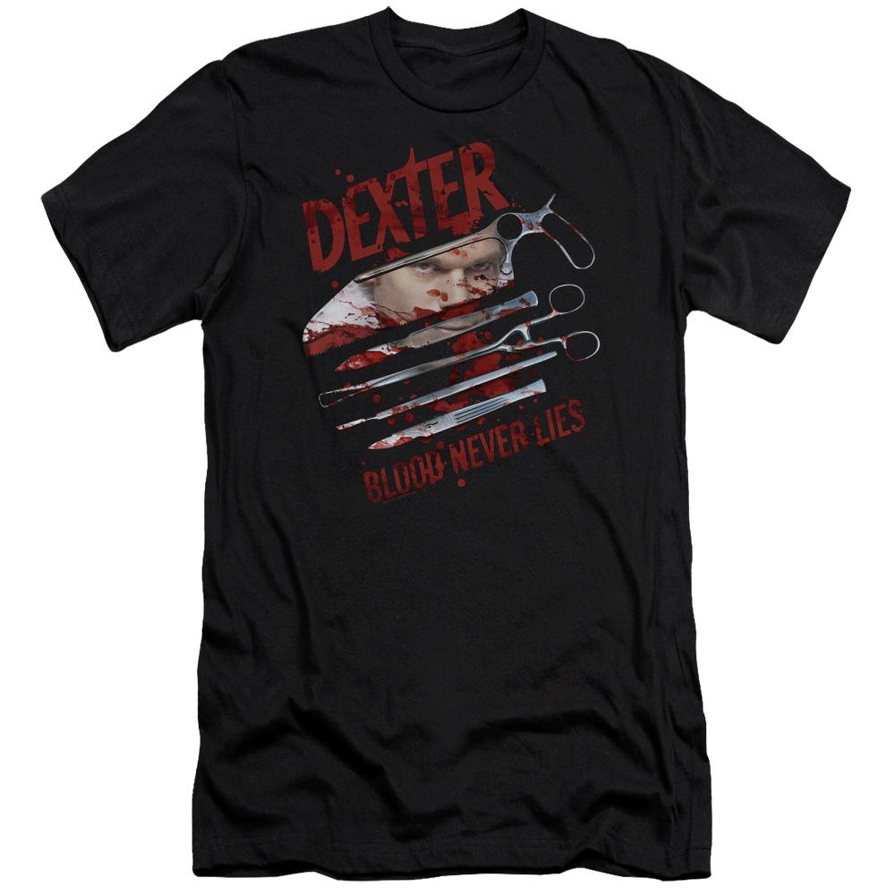 Dexter Blood Never Lies Tools Premium Slim Fit T-Shirt