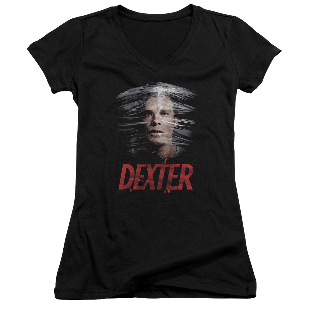Dexter Plastic Wrap Juniors V-Neck T-Shirt