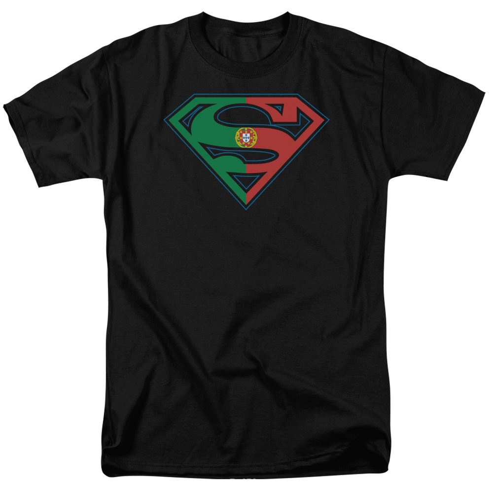 licensed superman portugal portuguese flag shield logo tee shirt adult s 3xl ebay. Black Bedroom Furniture Sets. Home Design Ideas