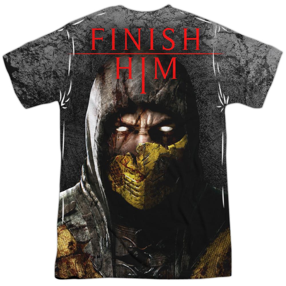 Mortal Kombat X FINISH HIM 1-Sided Sublimated Big Print Poly T-Shirt