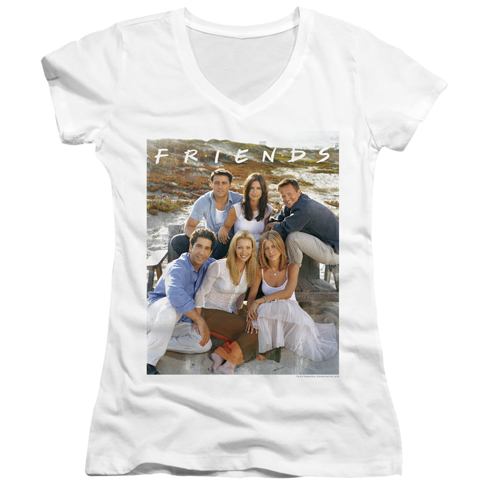 Friends Lifes a Beach Photo Juniors V-Neck T-Shirt
