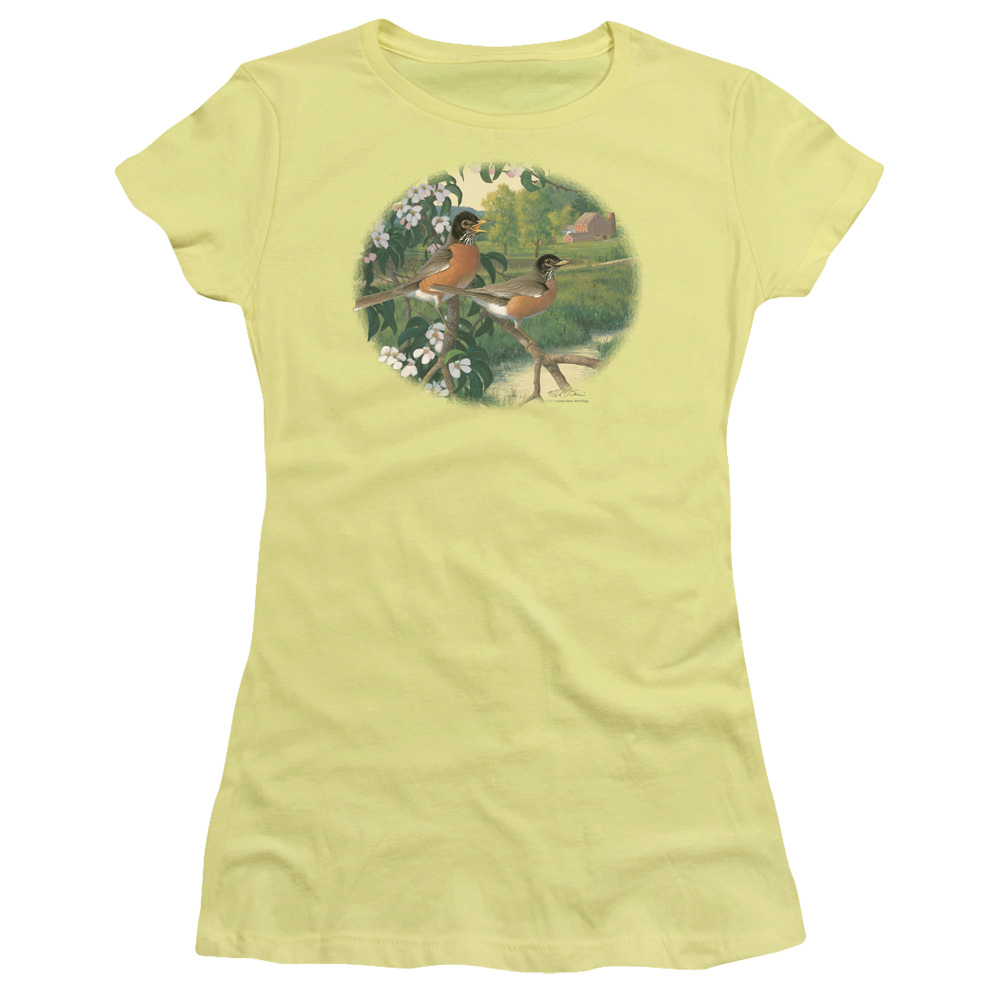 Wild Wings Apple Blossom Time Robins Junior Fit T Shirt
